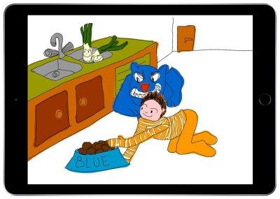 Eine Szene aus dem Bisspräventionsprogramm 'Der Blaue Hund', die in der Realität gefährlich für das Kind werden kann. ; Bildquelle: Blue Dog Trust / DVG